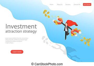 plat, isométrique, atterrissage, page, attraction, strategy., vecteur, gabarit, investissement