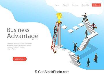 plat, isométrique, business, advantage., atterrissage, vecteur, gabarit, page