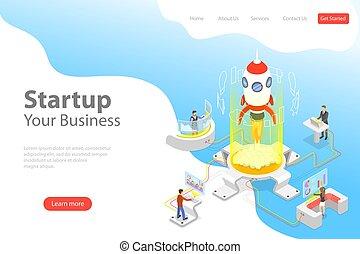 plat, isométrique, business, startup., atterrissage, vecteur, gabarit, nouveau, page