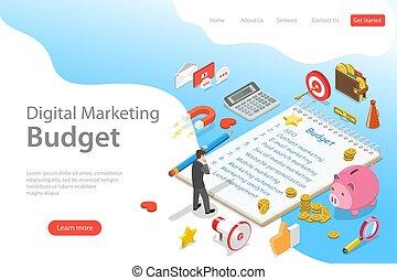 plat, isométrique, commercialisation, budget, atterrissage, vecteur, gabarit, numérique, seo., page
