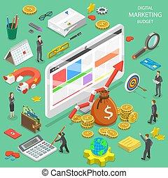 plat, isométrique, commercialisation, budget, vector., numérique