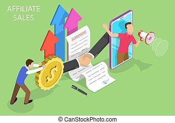 plat, isométrique, concept, commercialisation, ventes, strategy., vecteur, affiliate, référence