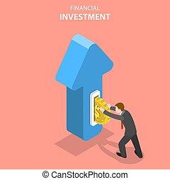 plat, isométrique, concept, financier, commercialisation, investissement, vecteur, analysis.