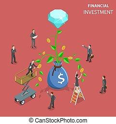 plat, isométrique, concept, financier, illustration., vecteur, investissement