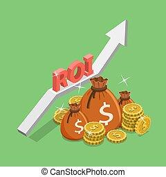 plat, isométrique, concept, retour, investissement, roi, vecteur, numérique, marketing.