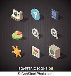 plat, isométrique, ensemble, icônes, 8