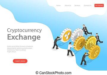 plat, isométrique, exchange., atterrissage, cryptocurrency, vecteur, gabarit, page
