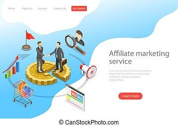 plat, isométrique, marketing., atterrissage, vecteur, affiliate, gabarit, page
