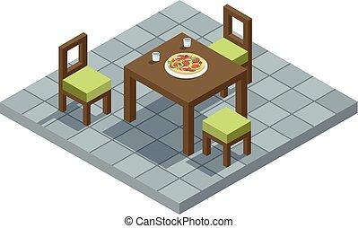 plat, isométrique, meubles, illustration, élément, vecteur, conception, cuisine maison, 3d