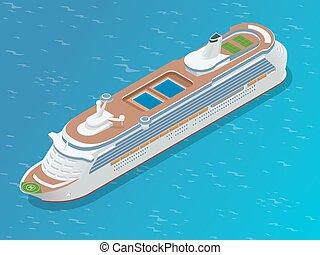plat, isométrique, moderne, paquebot, illustration, ship., vecteur, luxe, ocean., croisière, 3d