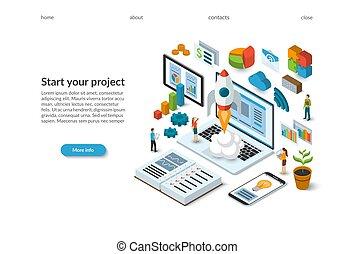 plat, isométrique, project., fonctionnement, lancement fusée, concept., démarrage, laptop., atterrissage, page, business, vecteur, conception, illustration, équipe, nouveau, template., 3d