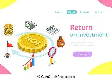 plat, isométrique, retour, investissement, vector.