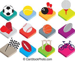 plat, isométrique, sports avec ballon, ensemble, fond, blanc, icône