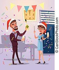 plat, joyeux, professionnels, illustration, noël, year., vecteur, caractères, nouveau, dessin animé, célébrer, heureux