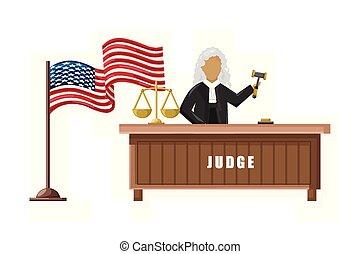plat, justice, américain, juge, drapeau, vecteur, concepts, brochure, style.