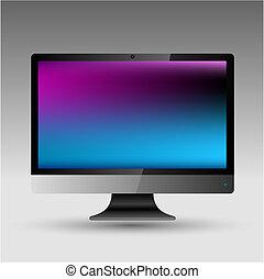 plat, lcd, vecteur, editable, fichier