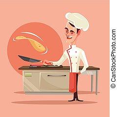 plat, les, poussées, crêpes, cuisine, caractère, air., vecteur, illustration, cuisinier, sourire, dessin animé, heureux