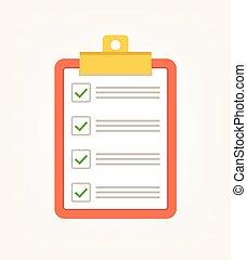 plat, liste, illustration, chèque, vecteur, vert, tick., vote, dessin animé