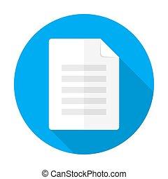 plat, long, cercle, document, ombre, icône
