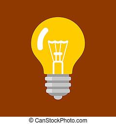 plat, lumière, concept., forme, vecteur, ampoule, inspiration, style., icône