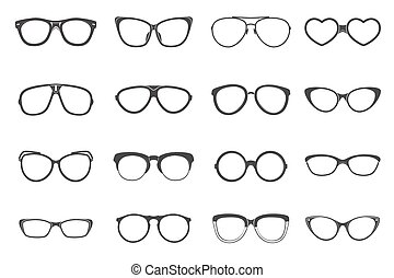 plat, lunettes, ensemble