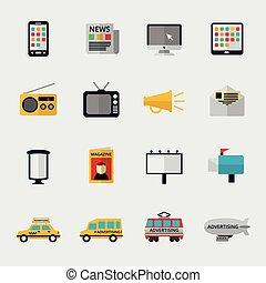 plat, média, icônes
