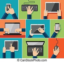 plat, main, appareils, icônes