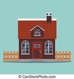 plat, maison, isolé, toit, cheminée, carrelé, pays, dessin animé, barrières, style., icône