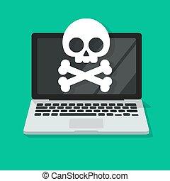 plat, malware, vecteur, clipart, illustration, ordinateur portable, ou, endommagé, spyware, alerte, virus, informatique, erreur, dessin animé, écran