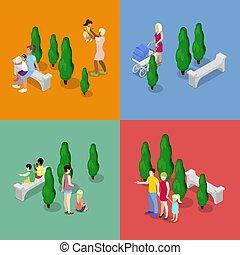 plat, marche, famille, heureux, concept., isométrique, illustration, vecteur, parents., enfants, 3d