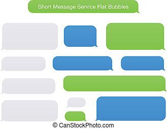 plat, message, court, bulles, service