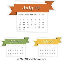 plat, mettez stylique, 2017, calendrier, juillet, ruban