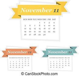 plat, mettez stylique, 2017, calendrier, novembre, ruban