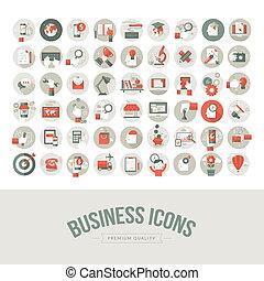 plat, mettez stylique, icones affaires