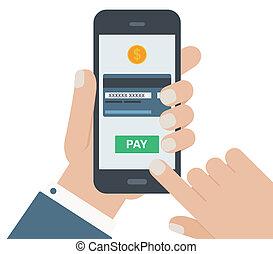 plat, mobile, isolé, main, conception, fond, paiement