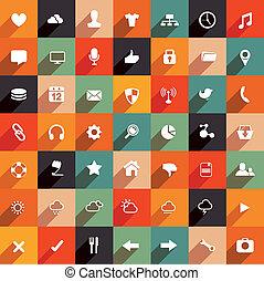 plat, moderne, ensemble, icône