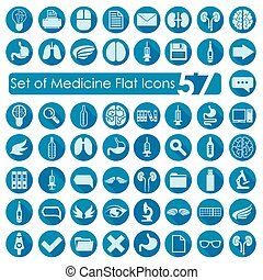 plat, monde médical, ensemble, icônes