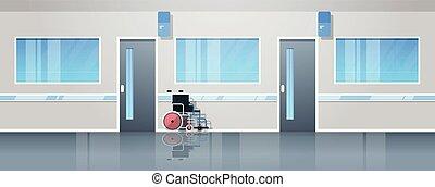 plat, monde médical, non, fauteuil roulant, gens, équipement, clinique, couloir, intérieur, horizontal, hôpital, bannière, salle, vide
