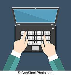 plat, moniteur, eps10, illustration, clavier portable, main, vecteur, vide, homme affaires, écran