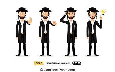plat, motivation, business, juif, projection, arrêt, illustration, main, vecteur, dessin animé, geste, homme