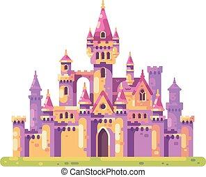 plat, moyen-âge, palais, princesse, conte, fée, castle., illustration.