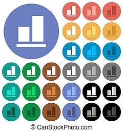 plat, multi coloré, icônes, aligner, fond, rond