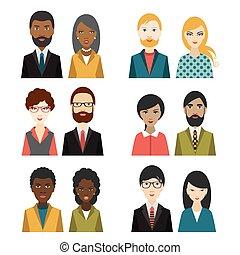plat, multi, ensemble, illustration., heads., caractère, culturel
