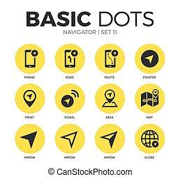 plat, navigateur, vecteur, ensemble, icônes