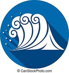 plat, (ocean, wave), vague, mer, icône