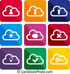 plat, ombre, long, nuage, icônes