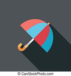 plat, ombre, parapluie, long, icône