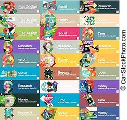 plat, option, en-têtes, infographic, conception, bannières