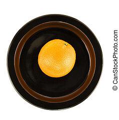 plat, orange, servir, noir, isolé