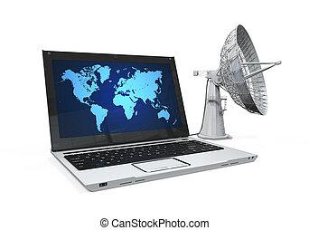 plat, ordinateur portable, satellite